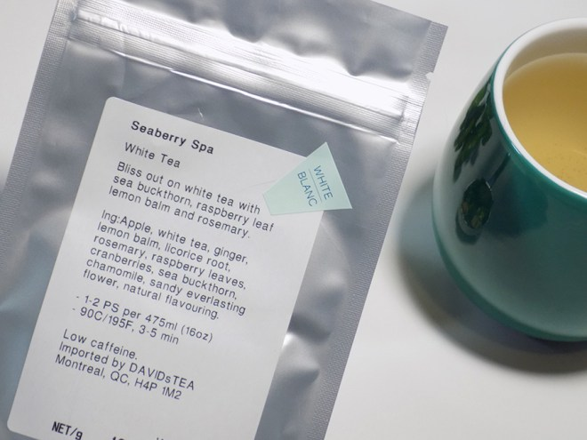 DAVIDsTEA Seaberry Spa Label - Ingredients and Steeping Instructions