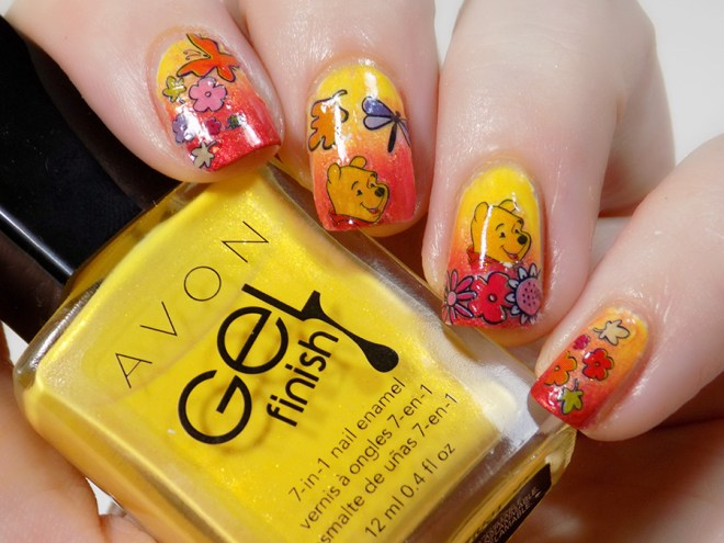 Winnie The Pooh Bear Nails With Kiss Nail Stickers Tea Nail Polish
