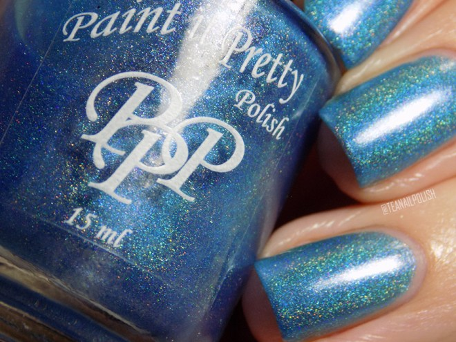 Paint it Pretty Polish Out of The Blue Holo Polish Macro Swatches