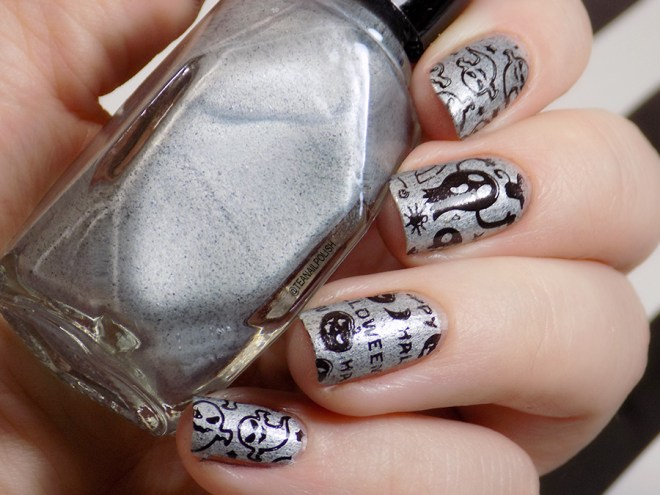 Halloween Nails - Alter Ego Silver Lining - Hit the Bottle Black - Glossy