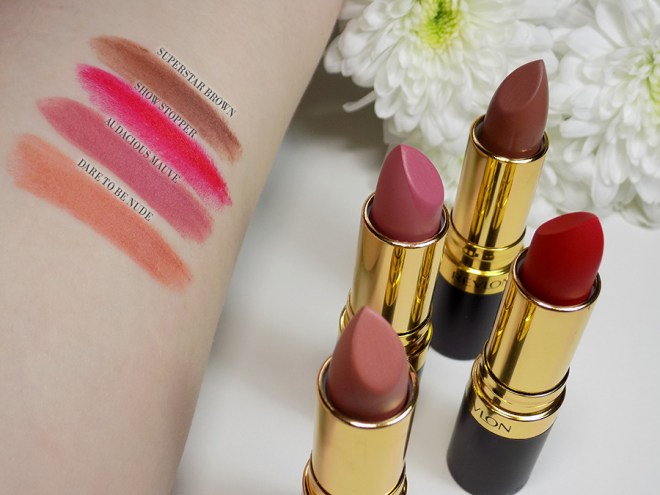 Revlon Super Lustrous Matte Lipstick Swatches - Dare to be Nude - Adacious Mauve - Show Stopper - Superstar Brown