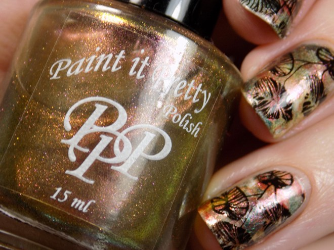 Leaves Smoosh Mani with Paint it Pretty Holiday Metallics Collection 2