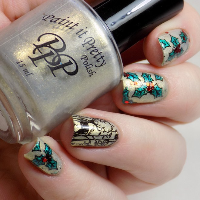 Holly and Deer Christmas Manicure CBBxManiMonday SQ