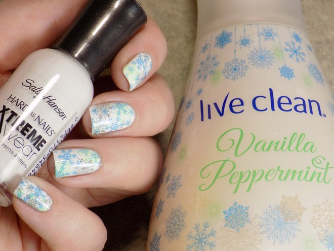 Snowflake Nails inspired by Live Clean Vanilla Peppermint Hand Soap