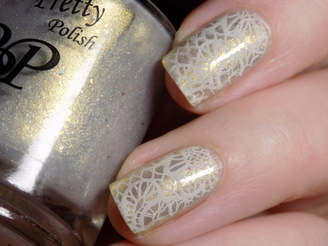 Champagne and Lace Bridal Names CBBxManiMonday Swatch 2