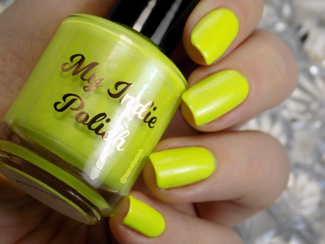 My Indie Polish Radioactive Swatches 2 Neon Yellow Polish