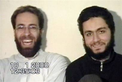 Sept. 11 hijackers Ziad Jarrah, left, and Mohammed Atta laugh in what is apparently their last will and testament in a videotape apparently made in Afghanistan on Jan. 18, 2000.