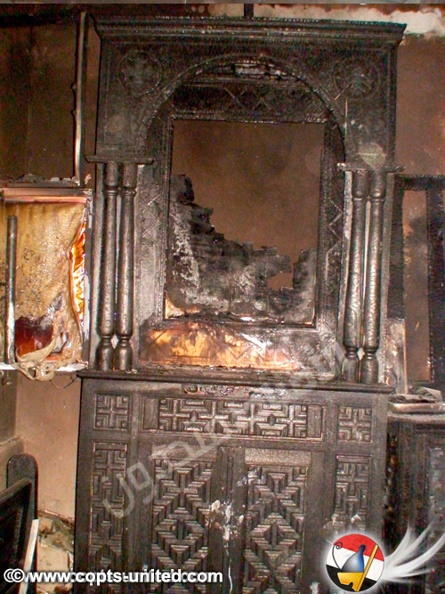 """""""The police decided before any forensics were carried out that the cause of the fire was caused by a short-circuit,"""" said an unofficial Church source. """"This cannot be true, as the electricity was shut off as usual before locking the Church and the panel boards are intact as the photos show.""""  Sherif Ramzy of Free Copts said that Coptic witnesses told him that while the fire was burning, Muslim neighbors were elated. To portray their happiness, Muslim women were letting out the traditional celebration sound """"zaghroota."""""""