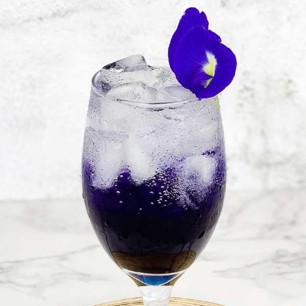 Sparkling butterfly pea tea