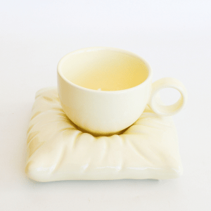 Pillow cup and saucer yellow
