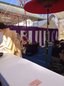 Tea Ceremony under the plum blossoms in Kitano Tenmangu shrine