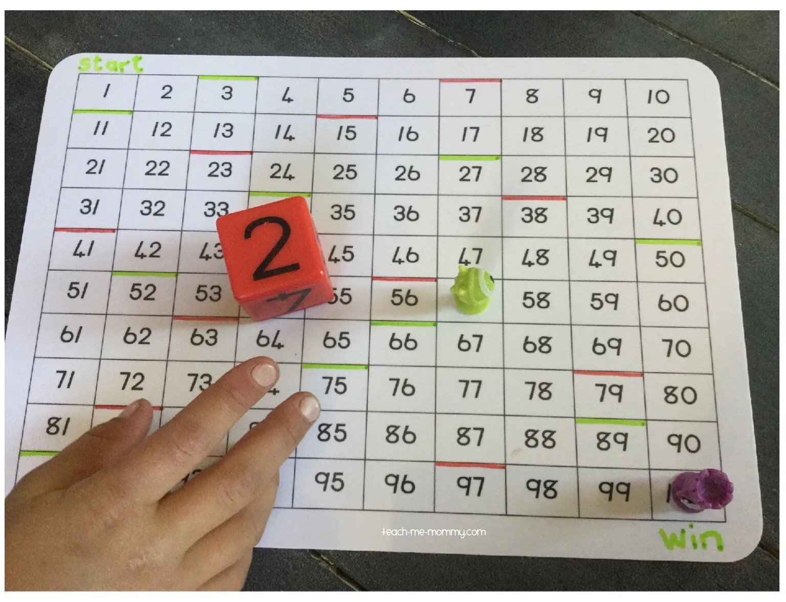 100 Chart Race To Win Counting Game