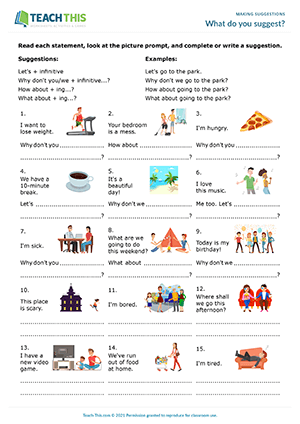 Contoh Soal Suggestion : contoh, suggestion, Making, Suggestions, Activities, Worksheets, Role-Plays, Games, Lessons