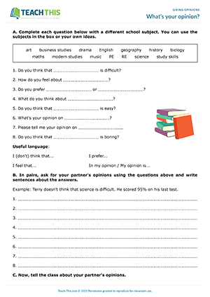 Asking And Giving Opinion Exercise : asking, giving, opinion, exercise, Giving, Opinions, Activities, Worksheets, Games