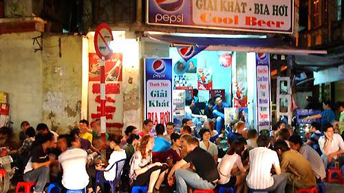 A beer corner in Hanoi