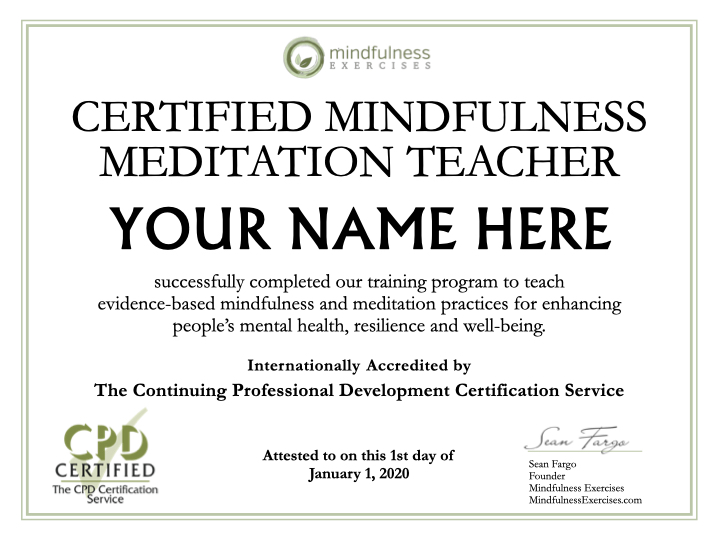 mindfulness teaching certification