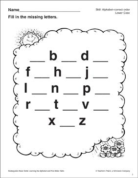 Alphabet Skills Lower Case Missing Letters: Kindergarten