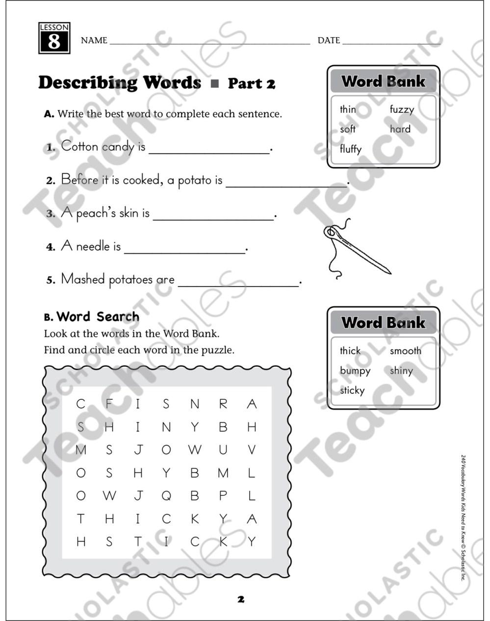 medium resolution of Describing Words: Grade 1 Vocabulary   Printable Skills Sheets