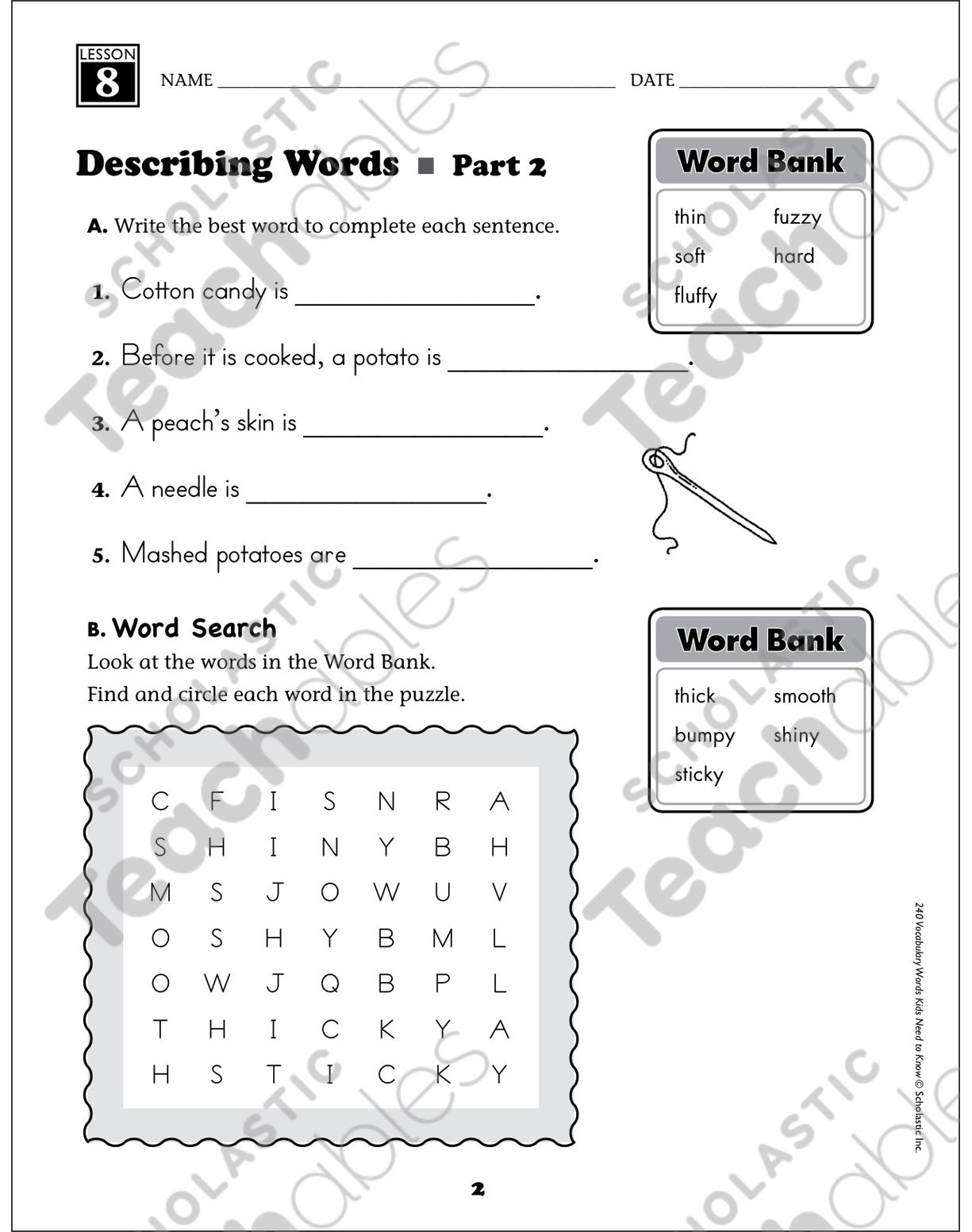 hight resolution of Describing Words: Grade 1 Vocabulary   Printable Skills Sheets