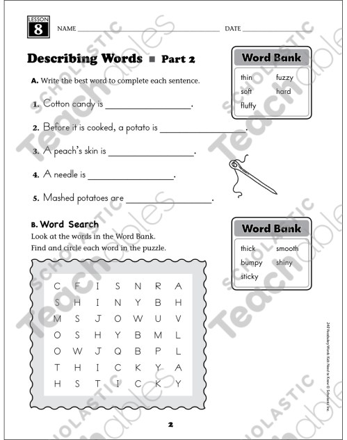 small resolution of Describing Words: Grade 1 Vocabulary   Printable Skills Sheets