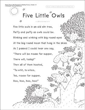 Five Little Owls (Fluency-Building Read-Aloud Poem