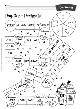 Dog-Gone Decimals! (game with adding and subtracting