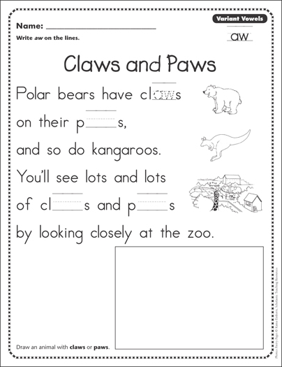 Claws And Paws Variant Vowels