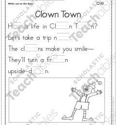 Clown Town (Dipthongs - ow): Phonics Poetry Page   Printable Skills Sheets [ 1552 x 1225 Pixel ]