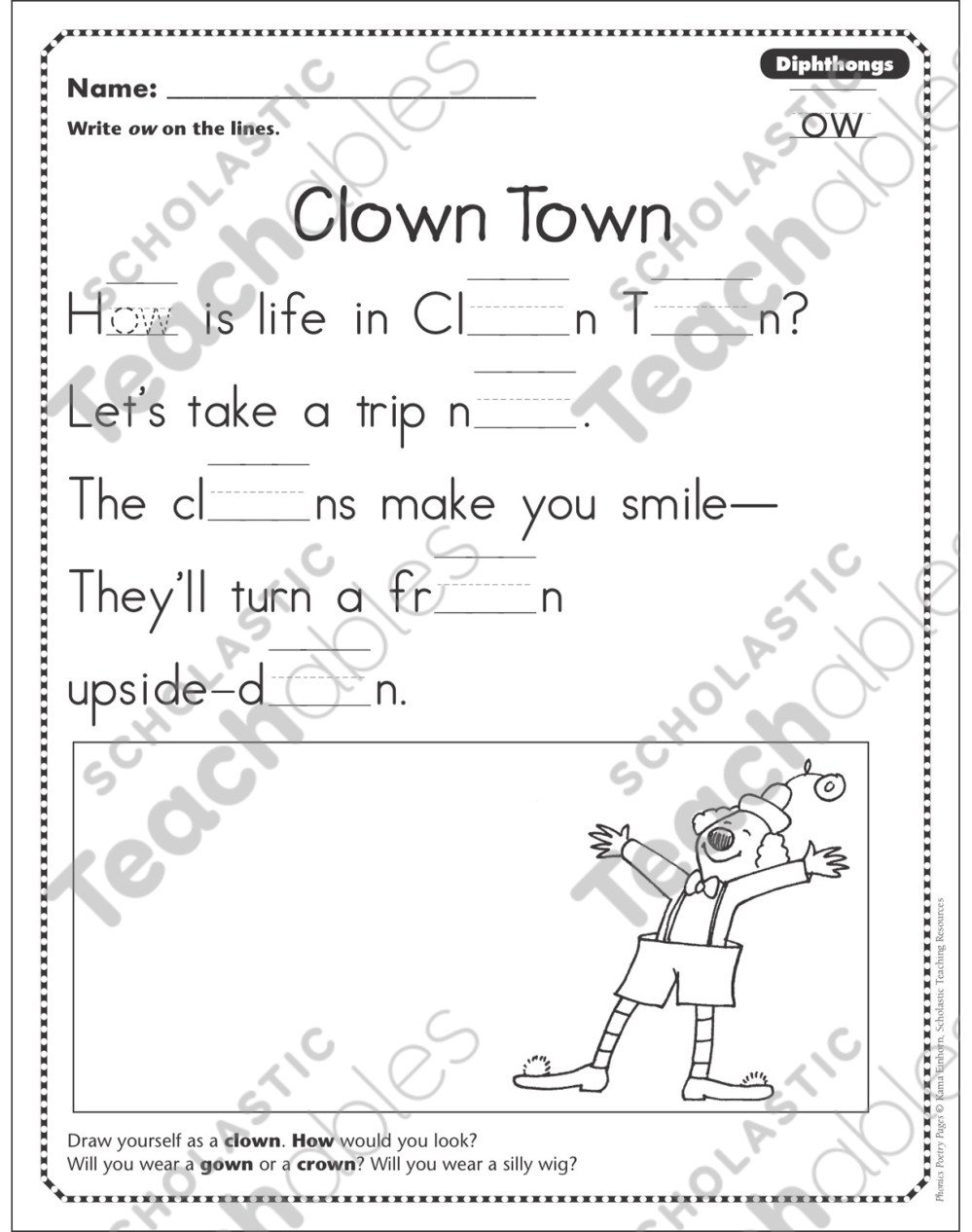 medium resolution of Clown Town (Dipthongs - ow): Phonics Poetry Page   Printable Skills Sheets