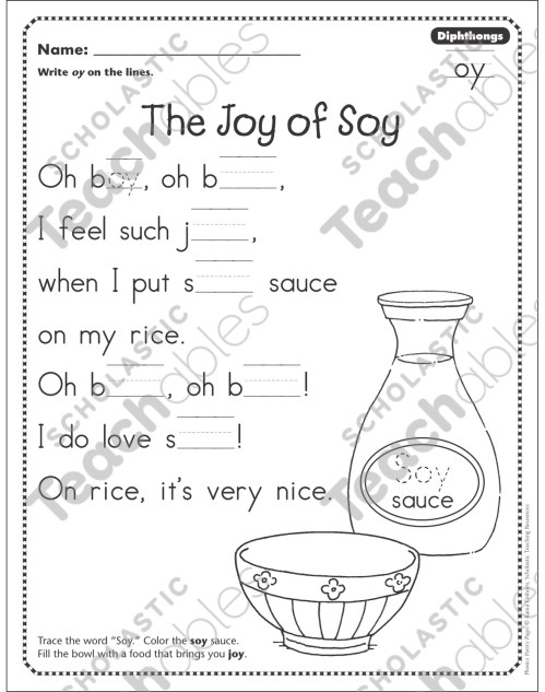 small resolution of The Joy of Soy (Dipthongs - oy): Phonics Poetry Page   Printable Skills  Sheets