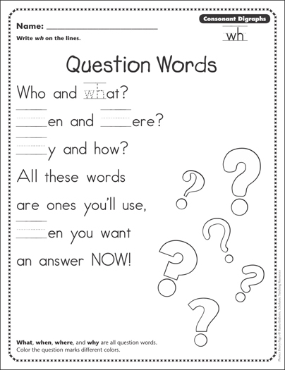 Question Words Consonant Digraphs Wh Phonics Poetry
