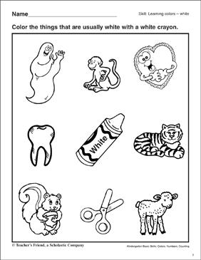 Learning the Color White: Kindergarten Basic Skills
