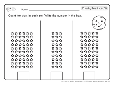 Counting Practice to 60 and to 100: Number Learning Mats