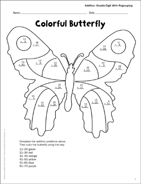 Colorful Butterfly (Double-Digit Addition/Regroup