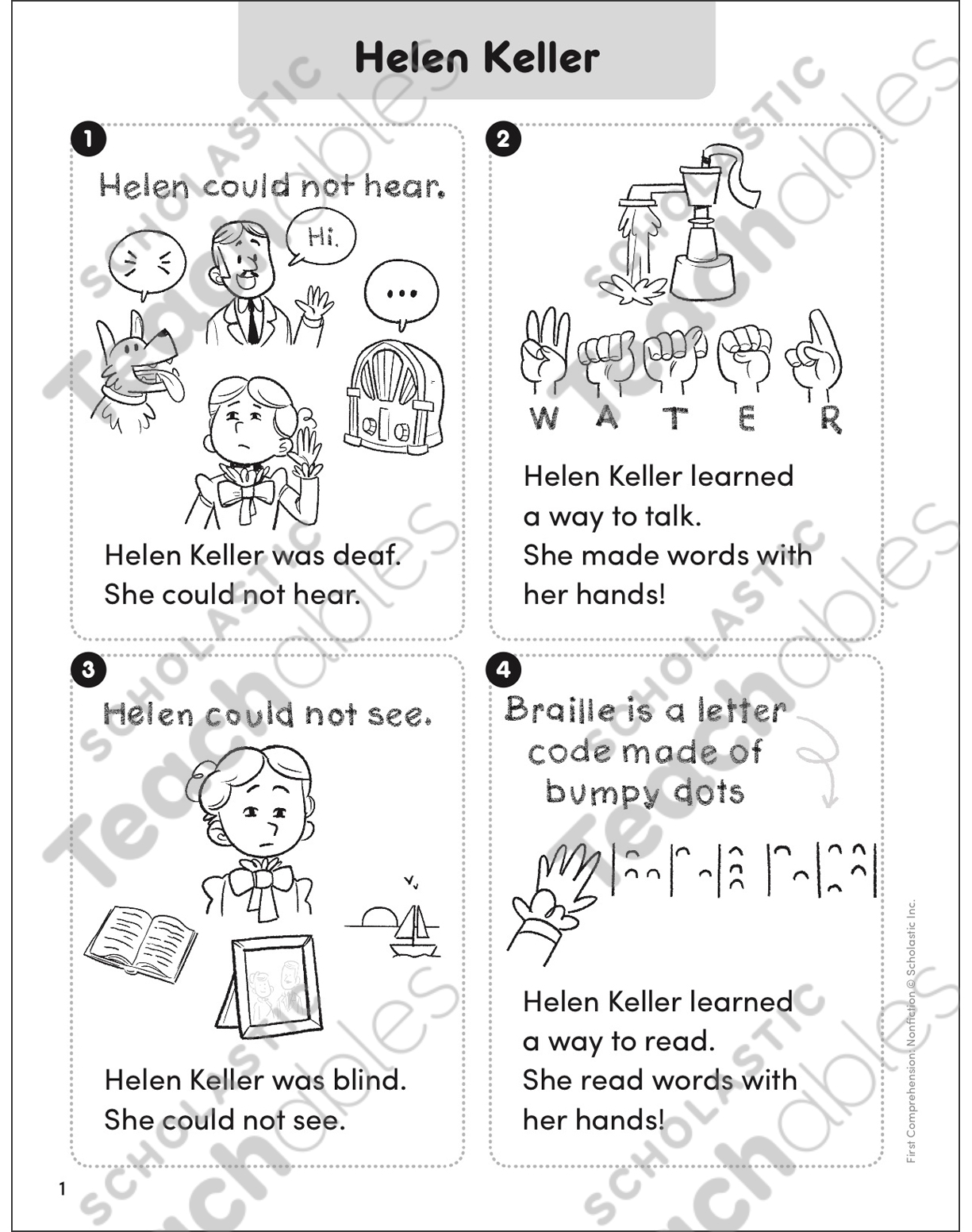 hight resolution of Helen Keller: First Comprehension (Nonfiction)   Printable Skills Sheets