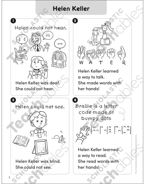 small resolution of Helen Keller: First Comprehension (Nonfiction)   Printable Skills Sheets
