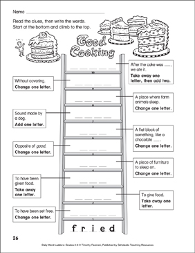 Good Cooking Word Ladder Grades 23  Printable Skills
