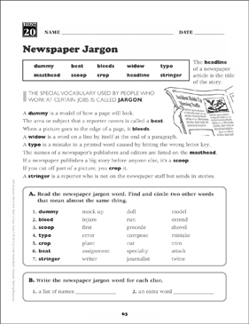 Newspaper Jargon Grade 4 Vocabulary
