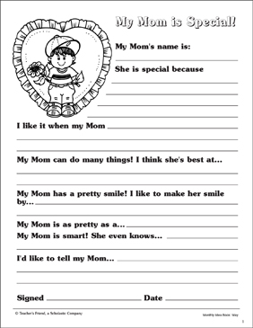 My Mom Is Special Fill In Writing Form