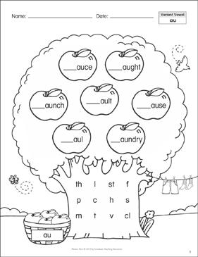 Diphthongs AU AW EW Printables Language arts and