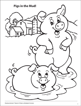 Pigs in the Mud! Amazing Animals Coloring Page
