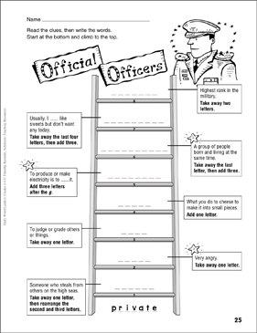 Official Officers Word Ladder Grades 46  Printable