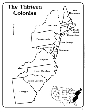 Maps of the Thirteen Colonies (Blank and Labeled