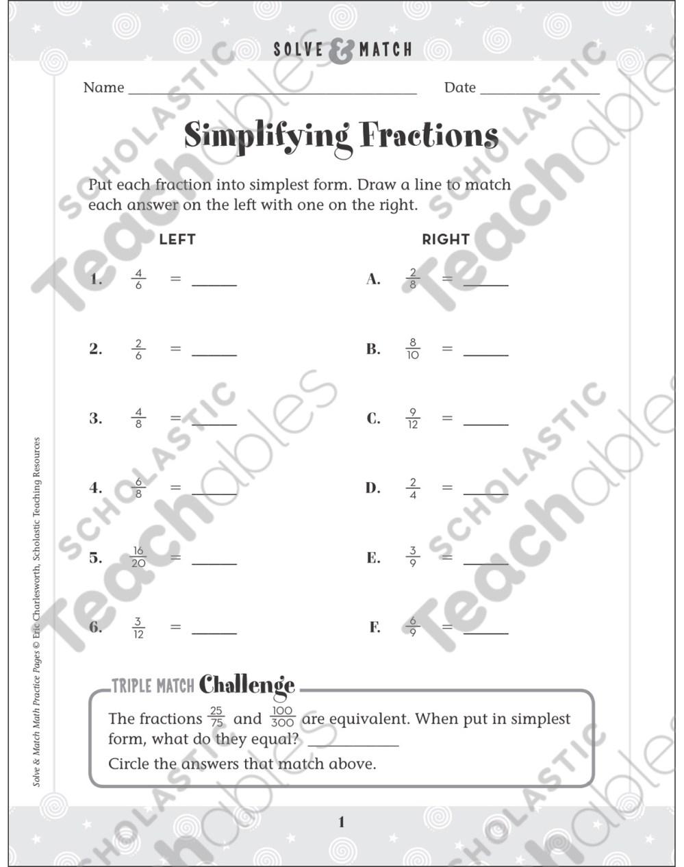 medium resolution of Simplifying Fractions: Solve \u0026 Match Math   Printable Skills Sheets