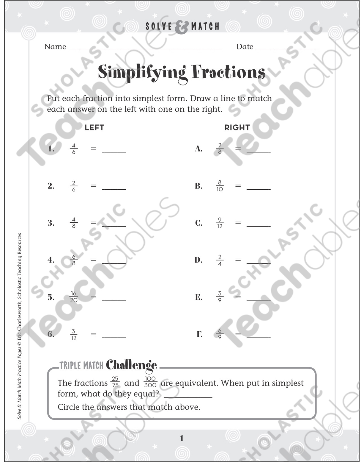 hight resolution of Simplifying Fractions: Solve \u0026 Match Math   Printable Skills Sheets