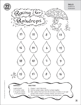 Racing for Raindrops (Addition & Subtraction): One-Page