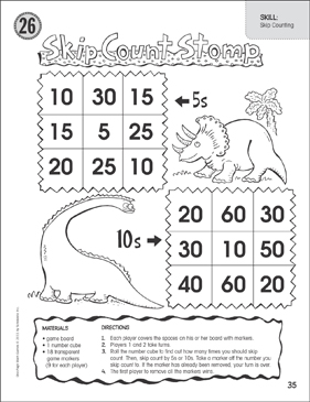 Skip Count Stomp 5s & 10s (Skip Counting): One-Page Math