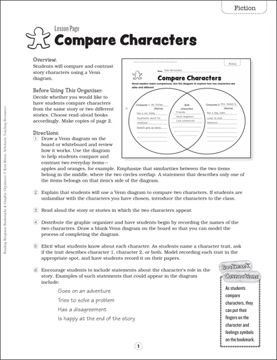 Compare Characters: Bookmark & Graphic Organizer