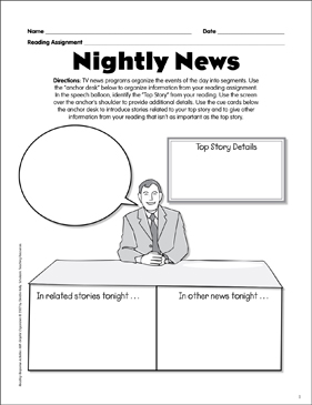 Nightly News: Reading Response Graphic Organizer