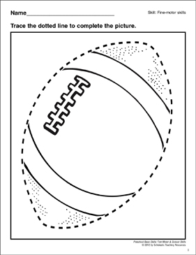 Tracing a Football: Preschool Basic Skills (Fine Motor